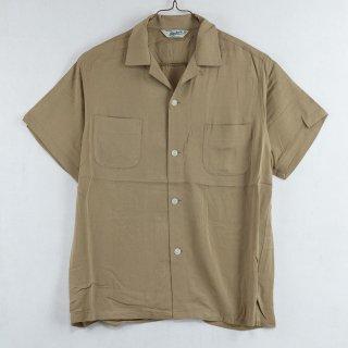 古着 Backers Short Sleeve Open Collar Shirt 半袖オープンカラーシャツ ベージュ 古着のネット通販 古着屋グレープフルーツムーン