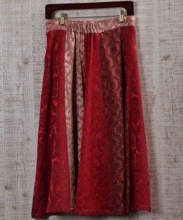 古着 Vintage fabric remake skirt  ヴィンテージファブリックリメイクスカート レッド 古着のネット通販 古着屋グレープフルーツムーン