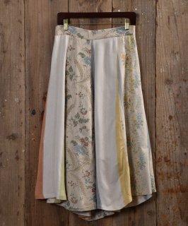 古着 Vintage fabric remake skirt  ヴィンテージファブリックリメイクスカート ホワイト 古着のネット通販 古着屋グレープフルーツムーン