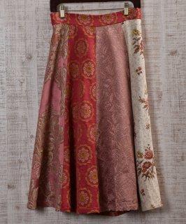 古着 Vintage fabric remake skirt  ヴィンテージファブリックリメイクスカート ピンク 古着のネット通販 古着屋グレープフルーツムーン