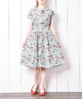 古着 short sleeve Record pattern dress|レコード総柄ドレス 古着のネット通販 古着屋グレープフルーツムーン