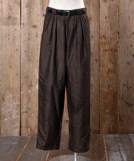 古着Cotton Linen EURO Slacks |コットン・リネン生地 ユーロスラックス  ダークブラウン 古着のネット通販 古着屋グレープフルーツムーン