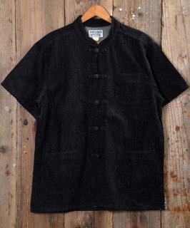 古着 Short Sleeve Denim China Shirt   ショートスリーブデニムチャイナシャツ ブラックデニム 古着のネット通販 古着屋グレープフルーツムーン