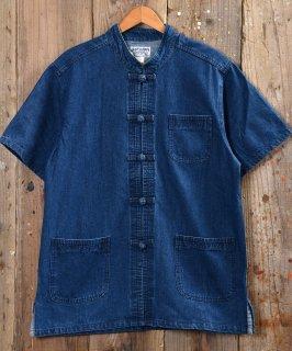 古着 Short Sleeve Denim China Shirt   ショートスリーブデニムチャイナシャツ ブルーデニム 古着のネット通販 古着屋グレープフルーツムーン