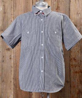 古着 Hickory Stripe Short sleeve Shirt ヒッコリーストライプ半袖シャツ 古着のネット通販 古着屋グレープフルーツムーン