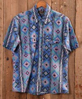古着 Native multi pattern  Short sleeve Western Shirt |ネイティブ総柄半袖ウエスタンシャツ ブルー系 古着のネット通販 古着屋グレープフルーツムーン