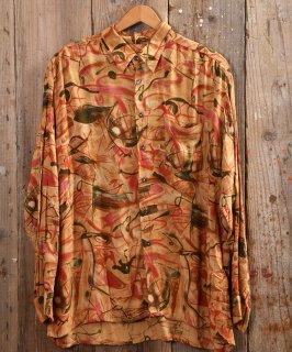 古着 Artistic Multi pattern Shirt |アーティステック総柄シャツ オレンジ系 古着のネット通販 古着屋グレープフルーツムーン