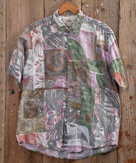 古着 multi pattern  short sleeve Shirt |総柄半袖シャツ ホワイト系 古着のネット通販 古着屋グレープフルーツムーン