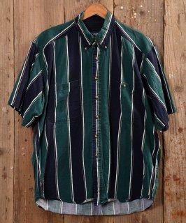 古着 Big Stripe pattern  short sleeve Shirt |ストライプ柄半袖シャツ グリーン系 古着のネット通販 古着屋グレープフルーツムーン