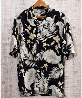 古着 Multi Pattern All Silk Hawaiian Shirts|総柄シルク製アロハシャツ ブラック×ホワイト 古着のネット通販 古着屋グレープフルーツムーン