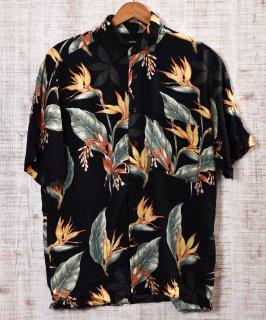 古着 Multi Pattern  Hawaiian Shirts|総柄アロハシャツ ブラック×オレンジ 古着のネット通販 古着屋グレープフルーツムーン