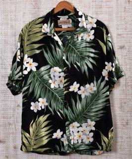 古着 Multi Pattern  Hawaiian Shirts|総柄アロハシャツ ブラック×グリーン×ホワイト 古着のネット通販 古着屋グレープフルーツムーン