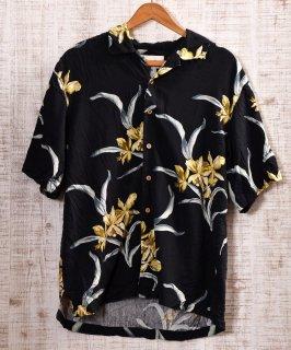 古着 Multi Pattern All Silk Hawaiian Shirts|総柄シルク製アロハシャツ ブラック×イエロー 古着のネット通販 古着屋グレープフルーツムーン