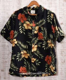 古着 Multi Pattern All Silk Hawaiian Shirts|総柄シルク製アロハシャツ ブラック×イエロー・レッド 古着のネット通販 古着屋グレープフルーツムーン