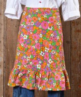 古着 70's Flower Pattern  Apron| 70年代花柄エプロン ピンク系 古着のネット通販 古着屋グレープフルーツムーン
