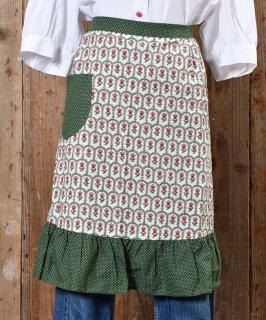 古着 70's little Flower pattern Apron|70年代 小紋花柄エプロン グリーン系 古着のネット通販 古着屋グレープフルーツムーン