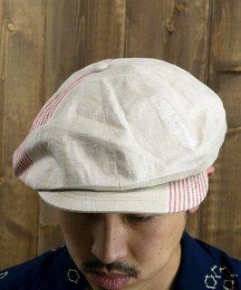 古着 Made in Japan Vintage Fabric Remake Casket|ヴィンテージファブリック リメイクキャスケット 日本製 ホワイト・レッド A 古着のネット通販 古着屋グレープフルーツムーン