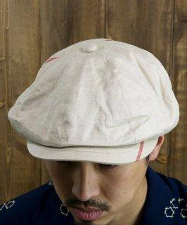 古着 Made in Japan Vintage Fabric Remake Casket|ヴィンテージファブリック リメイクキャスケット 日本製 ホワイト・レッド B 古着のネット通販 古着屋グレープフルーツムーン