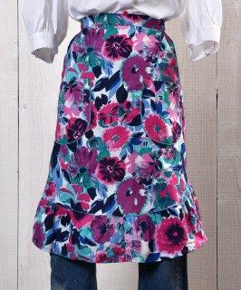 古着 Flower Multi pattern Apron| 総花柄エプロン パープル・ピンク系 古着のネット通販 古着屋グレープフルーツムーン