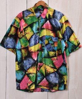 古着 Multi Pattern Short Sleeve Shirts|総柄シャツ ネオンカラー 古着のネット通販 古着屋グレープフルーツムーン