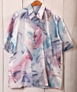 古着 Painting Multi Pattern Short Sleeve Shirt|ペイント系総柄半袖シャツ ブルー系 古着のネット通販 古着屋グレープフルーツムーン