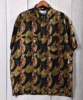 古着 Multi Pattern Short Sleeve All Silk Shirt|総柄 シルク100% 半袖シャツ イエロー・グリーン系 古着のネット通販 古着屋グレープフルーツムーン