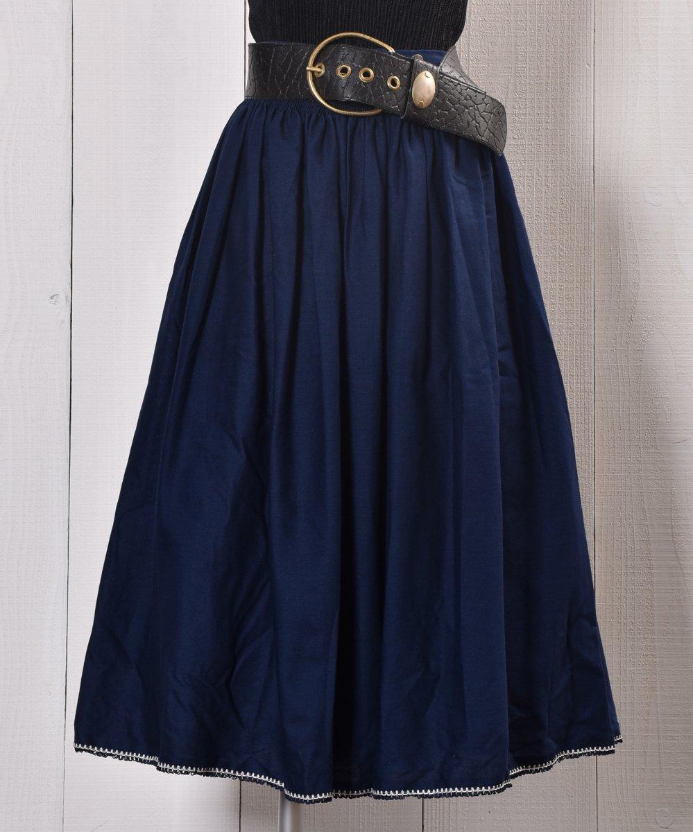 古着 Navy Embroidery decoration Long Skirt 刺繍 飾り ロングスカート   ネイビー系 古着 ネット 通販 古着屋グレープフルーツムーン