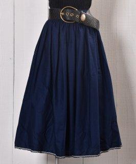 古着 Navy Embroidery decoration Long Skirt|刺繍 飾り ロングスカート | ネイビー系 古着のネット通販 古着屋グレープフルーツムーン