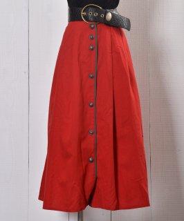 古着Embroidery decoration Long Skirt|刺繍装飾 ロングスカート | レッド系 古着のネット通販 古着屋グレープフルーツムーン