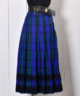 古着 European Stripe Pattern Tyrol Skirt All Silk|ストライプ チロルスカート 総シルク ヨーロッパ 古着 ネット 通販 古着屋グレープフルーツムーン