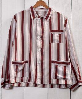 古着 Light Fabric Stripe Pattern Pajamas Shirt  ライトファブリック ストライプ パジャマシャツ 古着 ネット 通販 古着屋グレープフルーツムーン