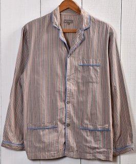 古着 Old pattern Trim Design Stripe Pajamas Shirt  オールド風 ストライプパジャマシャツ 古着 ネット 通販 古着屋グレープフルーツムーン