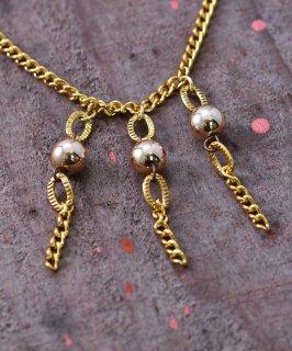 古着 Made in Europe Dead Stock Small 3 Boll Design Chain Necklace|ヨーロッパ製 デッドストック3ボールチェーンネックレス 古着のネット通販 古着屋グレープフルーツムーン