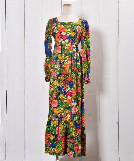 古着70's Colorful Flower Design Multi Pattern Maxi One Piece |70年代カラフル 花柄 マキシ丈ワンピース 古着のネット通販 古着屋グレープフルーツムーン