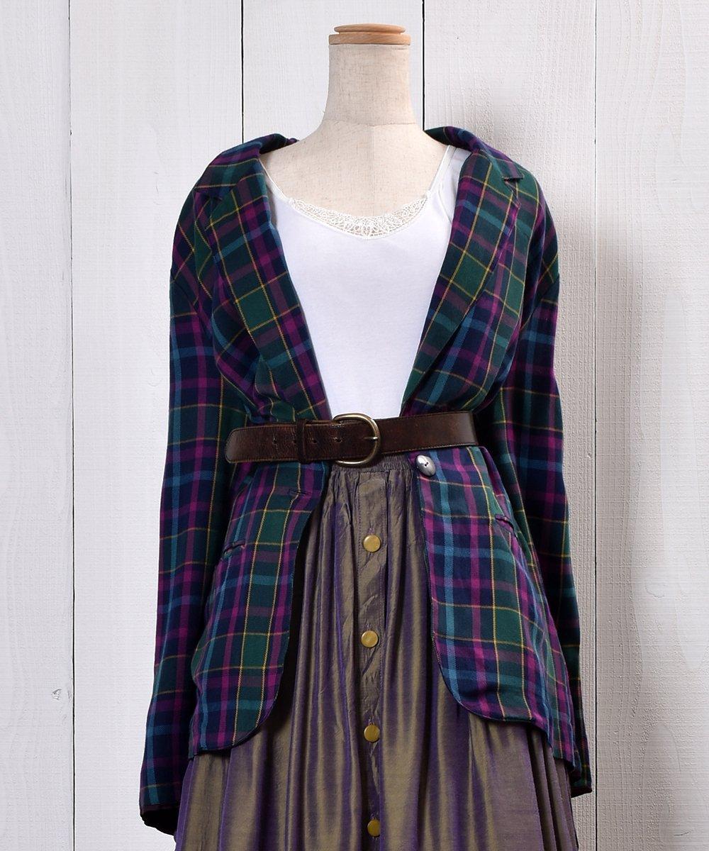 古着 80's Check Pattern Tailored Jacket|80年代チェック柄 テーラードジャケット 古着 ネット 通販 古着屋グレープフルーツムーン