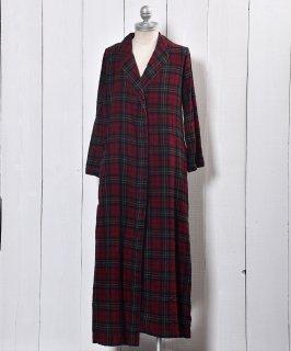 古着 Check Flannel Piping Collar Gown |チェック フランネル パイピングカラー ガウン 古着のネット通販 古着屋グレープフルーツムーン