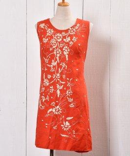 古着 70's Flower Embroidery Dress |70年代 花刺繍 ドレス 古着 ネット 通販 古着屋グレープフルーツムーン