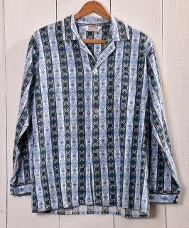 古着 Multi Pattern Pajamas Shirt  総柄パジャマシャツ   ブルー系 古着 ネット 通販 古着屋グレープフルーツムーン