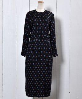 古着 80's Liz Claiborne Fine Pattern Dress | 80年代 リズ クレイボーン  小紋柄 シルク ドレス 古着のネット通販 古着屋グレープフルーツムーン