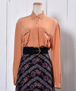 古着Embroidery  SmokyColor Blouse |花刺繍襟 スモークオレンジ ブラウス 古着のネット通販 古着屋グレープフルーツムーン