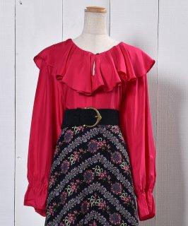 古着Frill Silk Blouse |フリル シルク ブラウス | ピンク 古着のネット通販 古着屋グレープフルーツムーン