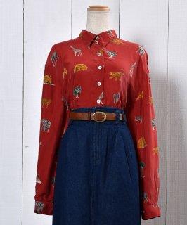 古着Animal Pattern  Long Sleeve Shirt shell Button | 動物柄 長袖シャツ シェルボタン 古着のネット通販 古着屋グレープフルーツムーン