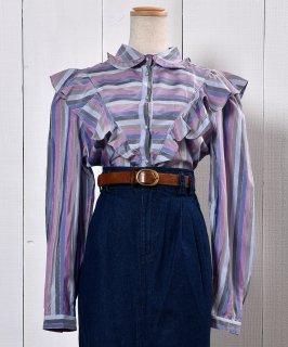 古着Frill  Blouse |フリル  ブラウス マルチボーダー 古着のネット通販 古着屋グレープフルーツムーン