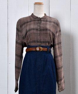 古着Check Gloss Blouse |チェック 光沢 ブラウス 古着のネット通販 古着屋グレープフルーツムーン