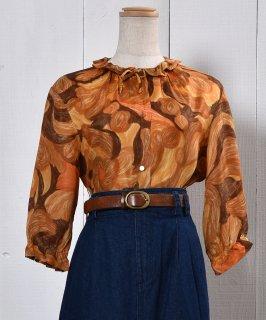 古着Three quarter sleeve Blouse Frill Color Watercolor Painting|水彩画風 七分袖ブラウス フリル襟 古着のネット通販 古着屋グレープフルーツムーン