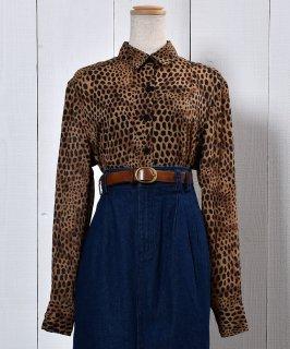 古着Leopard Big Silhouette Blouse |レオパード柄 ビッグ シルエット ブラウス 古着のネット通販 古着屋グレープフルーツムーン