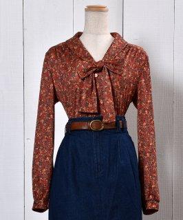 古着Small Flower Ribbon Tie Blouse |小花柄 リボン タイ ブラウス 古着のネット通販 古着屋グレープフルーツムーン
