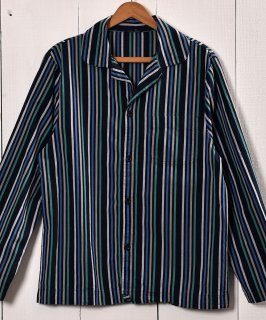 古着 Stripe Pattern Pajamas Shirt   ストライプ パジャマシャツ グリーン×ネイビー 古着 ネット 通販 古着屋グレープフルーツムーン
