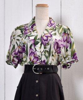 古着 Flower Pattern Tailored Collar Short Sleeve Shirt|テーラードカラー 花柄 半袖シルクシャツ 古着のネット通販 古着屋グレープフルーツムーン
