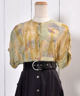 古着 Collarless Design See-through Short Sleeve Shirt|ノーカラー シースルー 半袖柄シャツ 古着のネット通販 古着屋グレープフルーツムーン